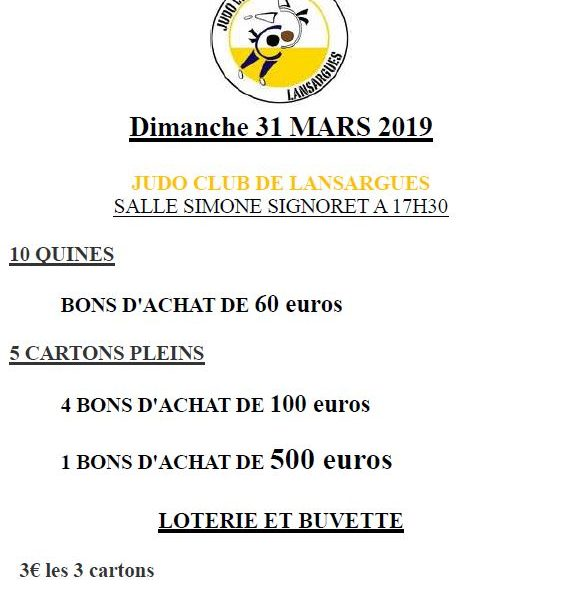 Loto Judo Club Lansargues 31 mars 2019